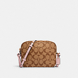 COACH 91677 Mini Camera Bag In Signature Canvas IM/KHAKI BLOSSOM