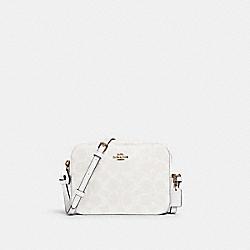 COACH 91677 Mini Camera Bag In Signature Canvas IM/CHALK/GLACIERWHITE