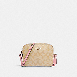 MINI CAMERA BAG IN SIGNATURE CANVAS - IM/LIGHT KHAKI/BUBBLEGUM - COACH 91677
