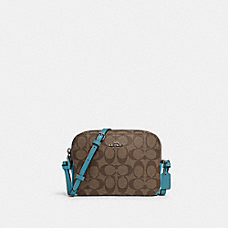 MINI CAMERA BAG IN SIGNATURE CANVAS - 91677 - SV/KHAKI/AQUA