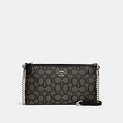 COACH 91679 - ZIP TOP CROSSBODY IN SIGNATURE CANVAS SV/BLACK SMOKE BLACK
