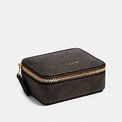 TRIPLE PILL BOX IN SIGNATURE CANVAS - 91684 - IM/BROWN BLACK