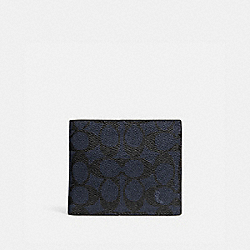 3-IN-1 WALLET IN SIGNATURE CANVAS - 916 - MIDNIGHT