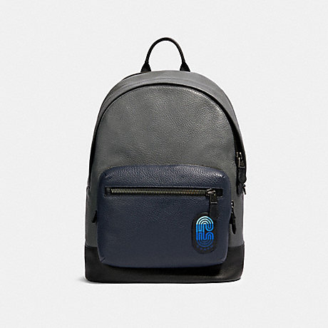 COACH 91742 WEST BACKPACK IN COLORBLOCK WITH COACH PATCH QB/INDUSTRIAL GREY MULTI