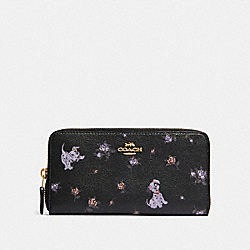 DISNEY X COACH ACCORDION ZIP WALLET WITH DALMATIAN FLORAL PRINT - 91743 - IM/BLACK MULTI