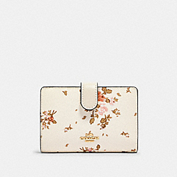 COACH 91750 - MEDIUM CORNER ZIP WALLET WITH ROSE BOUQUET PRINT IM/CHALK MULTI