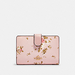 COACH 91750 Medium Corner Zip Wallet With Rose Bouquet Print IM/BLOSSOM MULTI