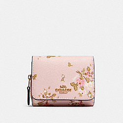 COACH 91752 Small Trifold Wallet With Rose Bouquet Print IM/BLOSSOM MULTI