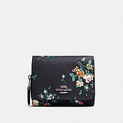 COACH 91752 Small Trifold Wallet With Rose Bouquet Print SV/MIDNIGHT MULTI