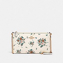 COACH 91758 Zip Top Crossbody With Rose Bouquet Print IM/CHALK MULTI