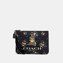 COACH 91762 Disney X Coach Gallery Pouch With Rose Bouquet Print And Thumper SV/MIDNIGHT