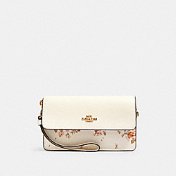 COACH 91771 Foldover Wristlet With Rose Bouquet Print IM/CHALK MULTI