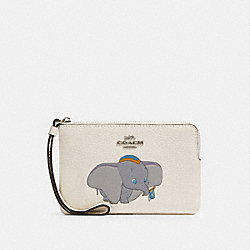COACH 91776 Disney X Coach Corner Zip Wristlet With Dumbo SV/CHALK