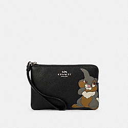 COACH 91778 Disney X Coach Corner Zip Wristlet With Thumper SV/BLACK