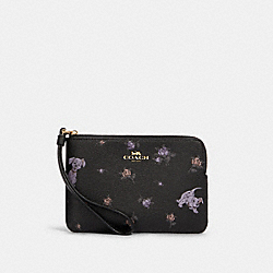 DISNEY X COACH CORNER ZIP WRISTLET WITH DALMATIAN FLORAL PRINT - 91780 - IM/BLACK MULTI