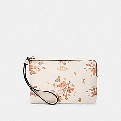 COACH 91781 Corner Zip Wristlet With Rose Bouquet Print IM/CHALK MULTI