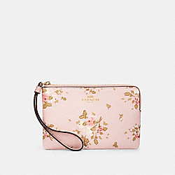 COACH 91781 Corner Zip Wristlet With Rose Bouquet Print IM/BLOSSOM MULTI