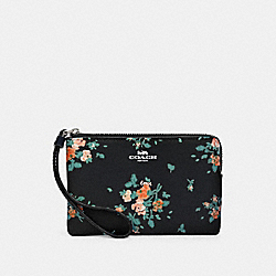 COACH 91781 Corner Zip Wristlet With Rose Bouquet Print SV/MIDNIGHT MULTI