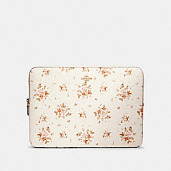 COACH 91783 Laptop Sleeve With Rose Bouquet Print IM/CHALK MULTI