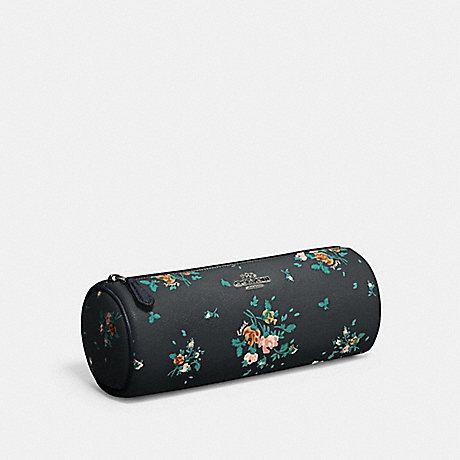COACH 91787 MAKEUP BRUSH HOLDER WITH ROSE BOUQUET PRINT SV/MIDNIGHT MULTI
