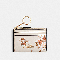 COACH 91788 Mini Skinny Id Case With Rose Bouquet Print IM/CHALK MULTI