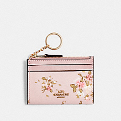 COACH 91788 Mini Skinny Id Case With Rose Bouquet Print IM/BLOSSOM MULTI