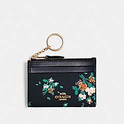 COACH 91788 Mini Skinny Id Case With Rose Bouquet Print SV/MIDNIGHT MULTI
