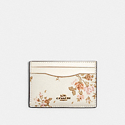 COACH 91789 Flat Card Case With Rose Bouquet Print IM/CHALK MULTI