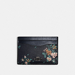 COACH 91789 Flat Card Case With Rose Bouquet Print SV/MIDNIGHT MULTI