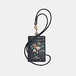 COACH 91792 - ID LANYARD WITH ROSE BOUQUET PRINT SV/MIDNIGHT MULTI