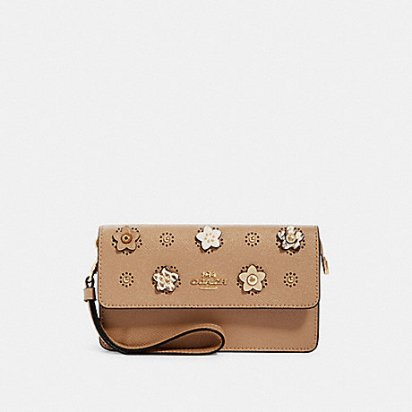 COACH 91795 FOLDOVER WRISTLET WITH DAISY APPLIQUE IM/TAUPE-MULTI