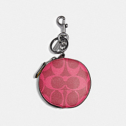 COACH 91800 - CIRCULAR COIN POUCH BAG CHARM IN SIGNATURE CANVAS GM/MAGENTA