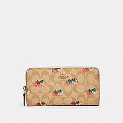 COACH 91826 - ACCORDION ZIP WALLET IN SIGNATURE CANVAS WITH STRAWBERRY PRINT IM/KHAKI MULTI