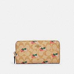 COACH 91826 Accordion Zip Wallet In Signature Canvas With Strawberry Print IM/KHAKI MULTI