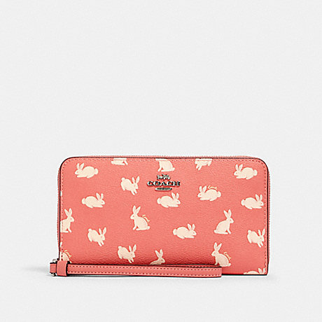 COACH LARGE PHONE WALLET WITH BUNNY SCRIPT PRINT - SV/BRIGHT CORAL - 91830