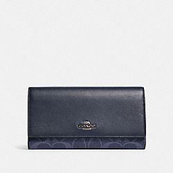 COACH 91831 Trifold Wallet In Signature Canvas SV/DENIM MIDNIGHT