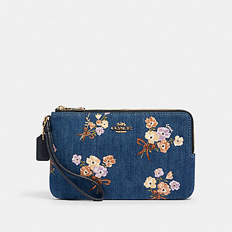 COACH 91832 DOUBLE ZIP WALLET WITH PAINTED FLORAL BOX PRINT IM/DENIM MULTI