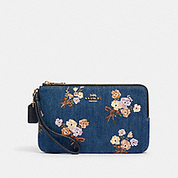 DOUBLE ZIP WALLET WITH PAINTED FLORAL BOX PRINT - 91832 - IM/DENIM MULTI