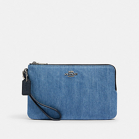 COACH 91833 DOUBLE ZIP WALLET SV/DENIM MULTI