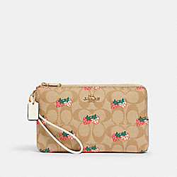 COACH 91835 Double Zip Wallet In Signature Canvas With Strawberry Print IM/KHAKI MULTI