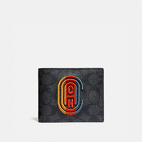 COACH 918 3-IN-1 WALLET IN SIGNATURE CANVAS WITH COACH PATCH CHARCOAL SIGNATURE MULTI
