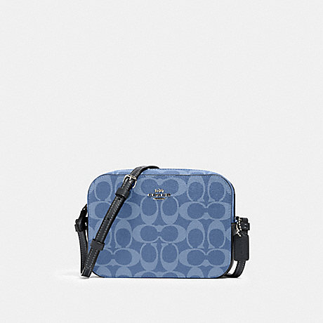 COACH 91904 MINI CAMERA BAG IN SIGNATURE CANVAS SV/LIGHT-DENIM
