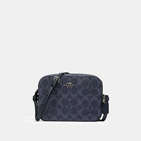 COACH 91904 MINI CAMERA BAG IN SIGNATURE CANVAS SV/DENIM-MIDNIGHT