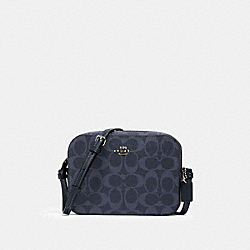 MINI CAMERA BAG IN SIGNATURE CANVAS - 91904 - SV/DENIM MIDNIGHT