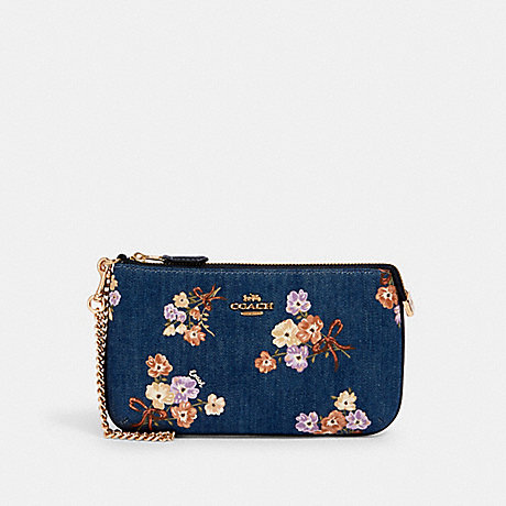COACH 92050 LARGE WRISTLET WITH PAINTED FLORAL BOX PRINT IM/DENIM-MULTI