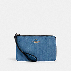COACH 92623 - CORNER ZIP WRISTLET SV/DENIM MULTI