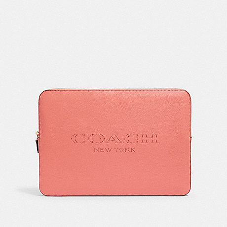 COACH 93148 LAPTOP SLEEVE WITH COACH PRINT IM/BRIGHT CORAL