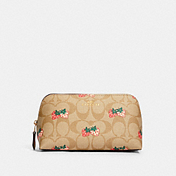 COACH 93613 - COSMETIC CASE 17 IN SIGNATURE CANVAS WITH STRAWBERRY PRINT IM/KHAKI MULTI