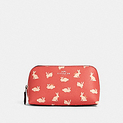 COACH 93614 - COSMETIC CASE 17 WITH BUNNY SCRIPT PRINT SV/BRIGHT CORAL