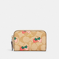 COACH 93678 Zip Around Coin Case In Signature Canvas With Strawberry Print IM/KHAKI MULTI
